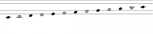 Chromatic scale from C to C in Clairnote by Paul Morris