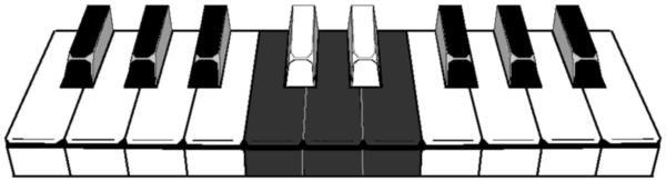 Illustration of a 6-6 colored traditional (7-5) keyboard