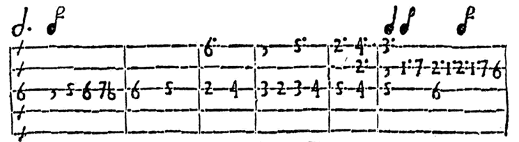 Example of early Spanish tablature for the harp