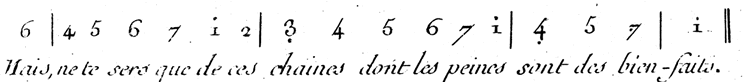 Example of Jean-Jacques Rousseau's numerical music notation