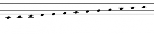 Chromatic scale from C to C in Clairnote SN by Paul Morris